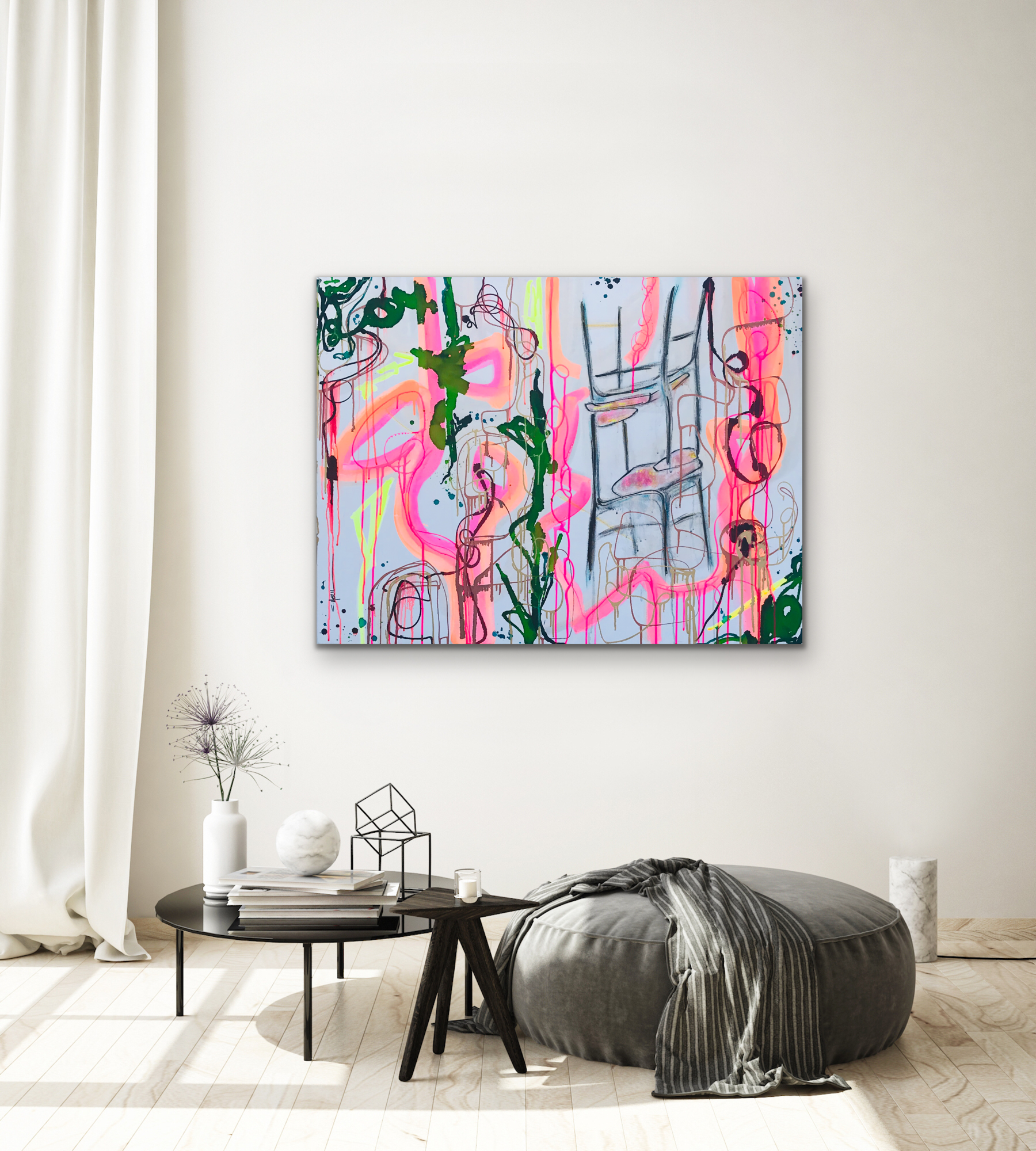 CHRISTI MERIL ART-LEAN ON ME-DALLAS ABSTRACT EXPRESSIONIST-DALLAS ABSTRACT ARTIST-DALLAS CHAIR ART-3